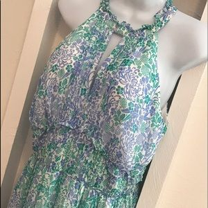 Shoshanna Blue Floral Esther Maxi Dress size 10